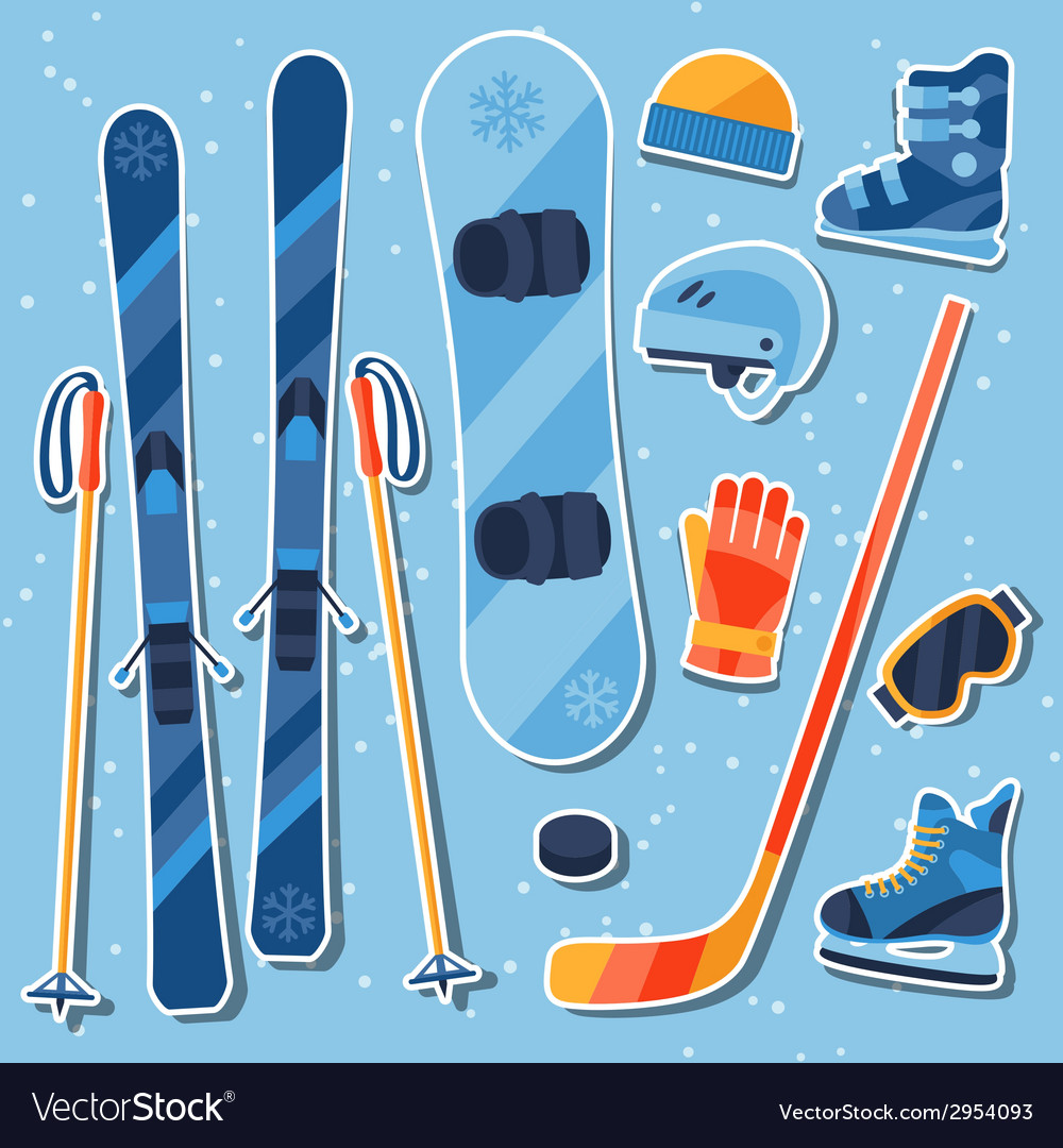Winter sports equipment sticker icons set in flat vector | Price: 1 Credit (USD $1)