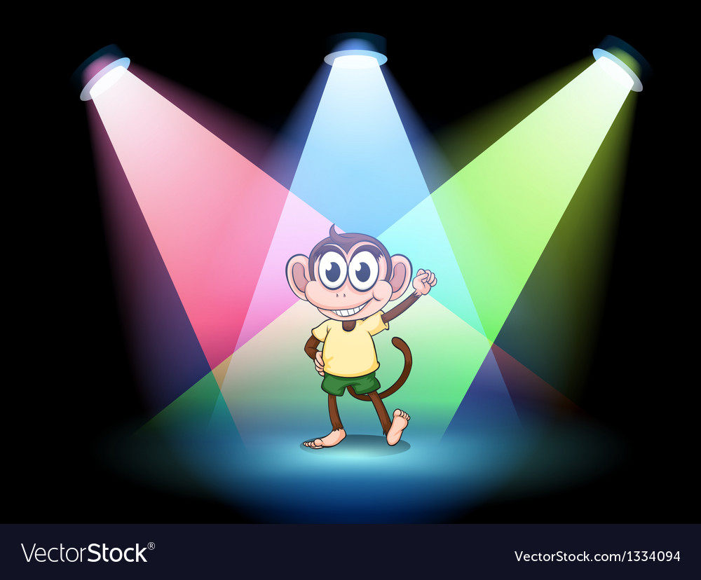 A stage with a male monkey at the center vector | Price: 1 Credit (USD $1)