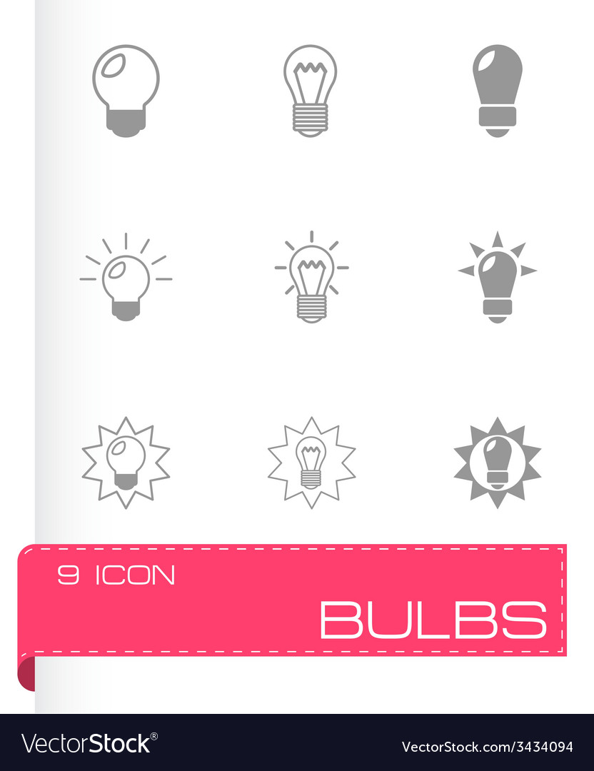 Black bulbs icon set vector | Price: 1 Credit (USD $1)