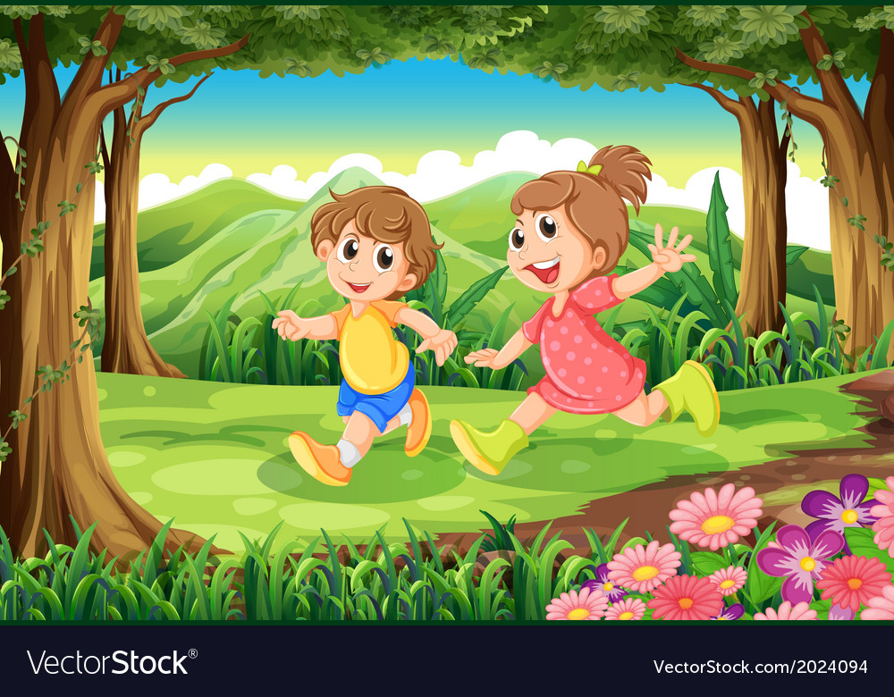 Children running at the woods vector | Price: 3 Credit (USD $3)