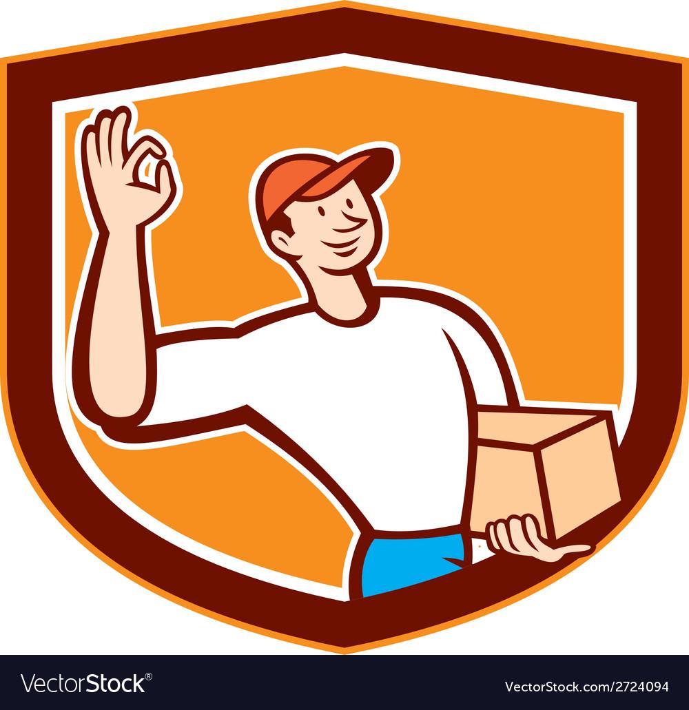 Delivery man okay sign shield cartoon vector | Price: 1 Credit (USD $1)