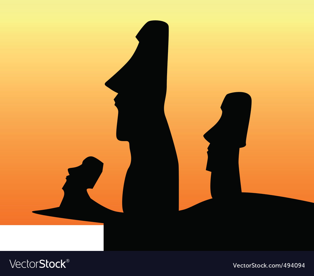 Easter island statues vector | Price: 1 Credit (USD $1)