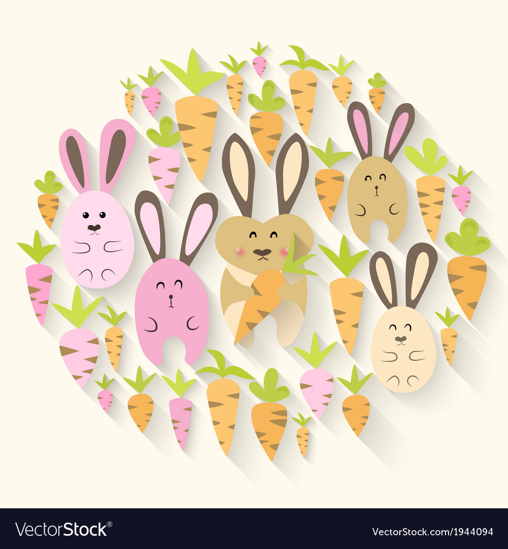 Easter pink rabbits and carrots icon set vector | Price: 1 Credit (USD $1)