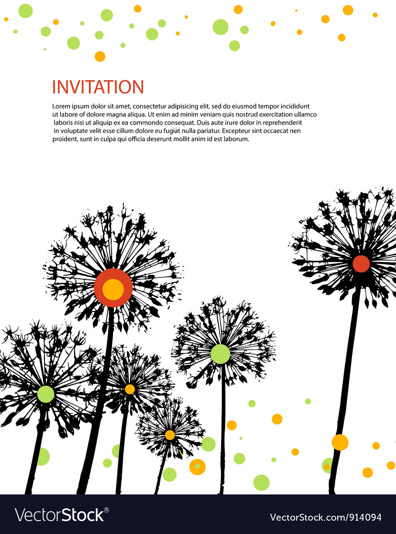 Flowers invitation card vector | Price: 1 Credit (USD $1)