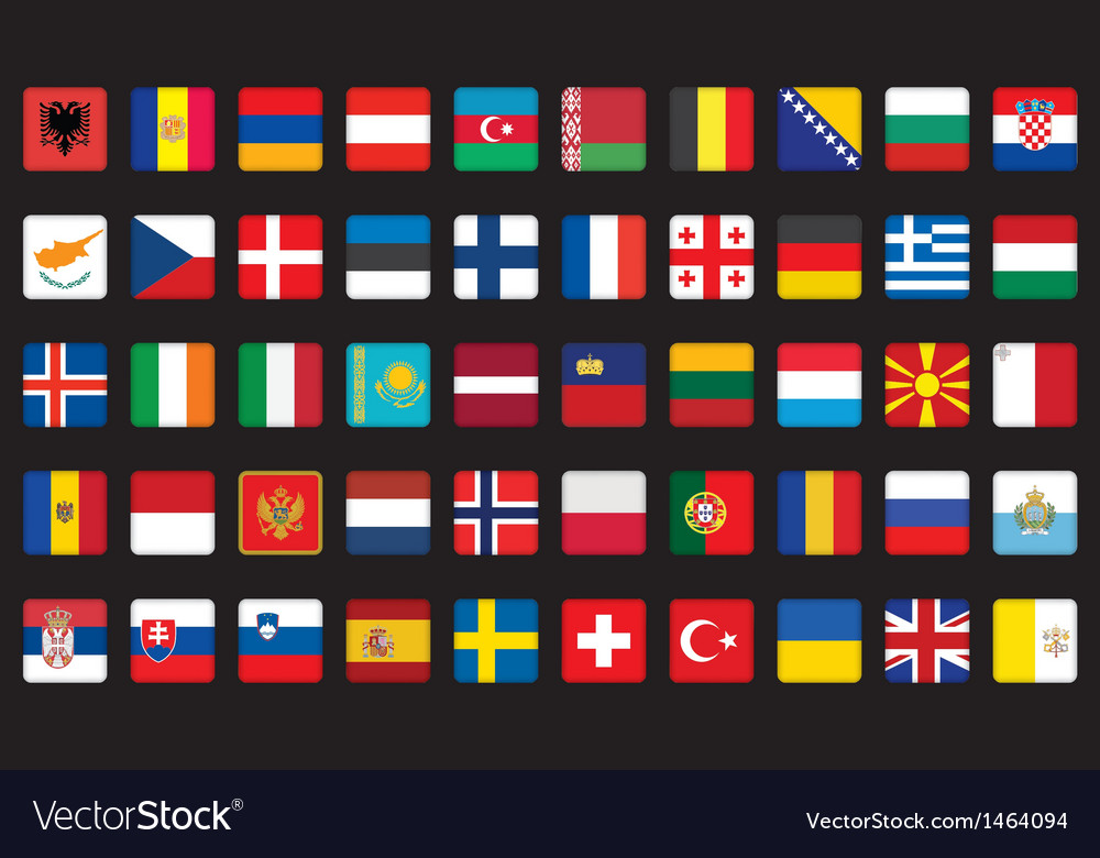 Icons with flags of europe vector | Price: 1 Credit (USD $1)