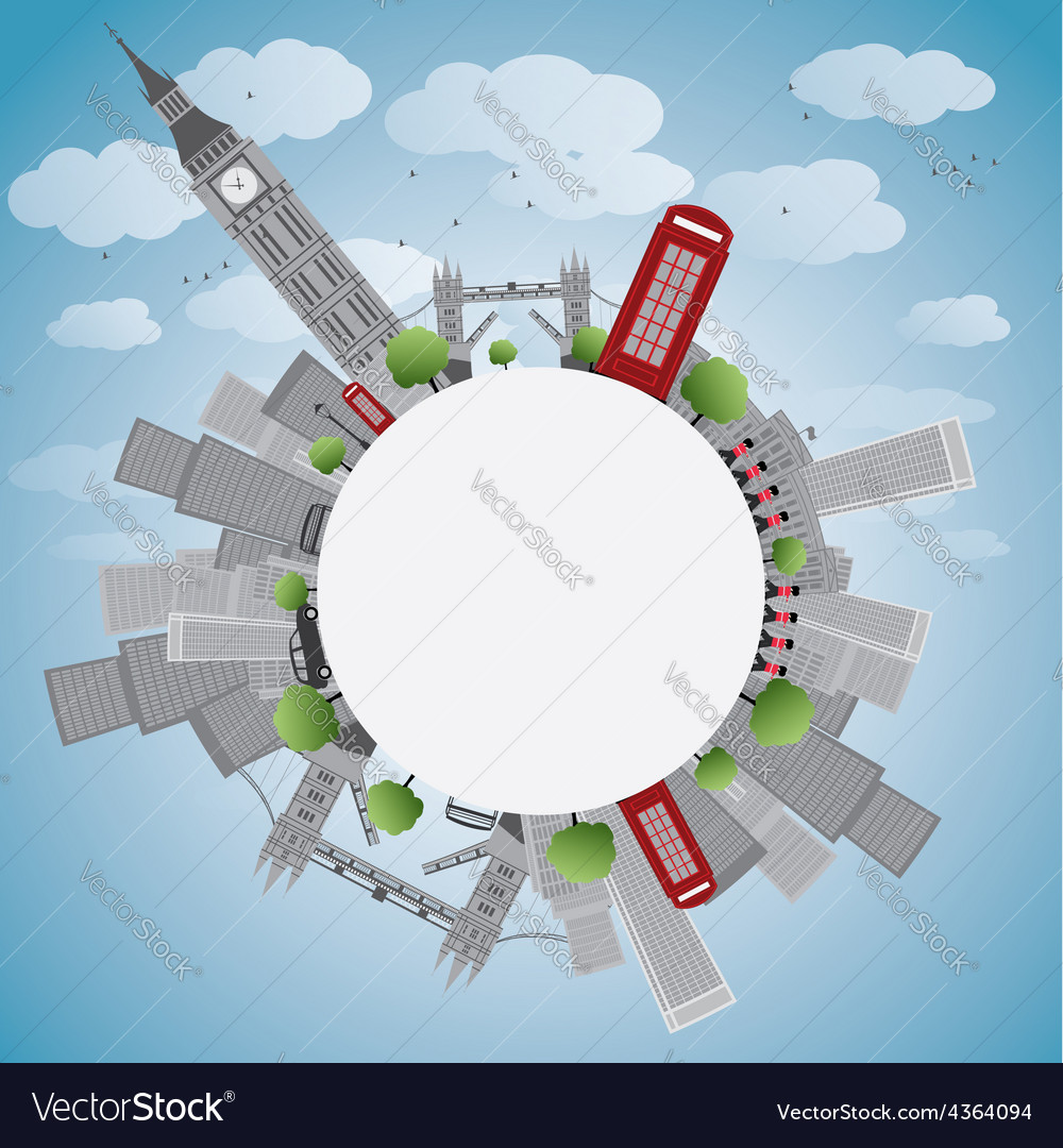 London panorama with big ben and skyscrapers vector