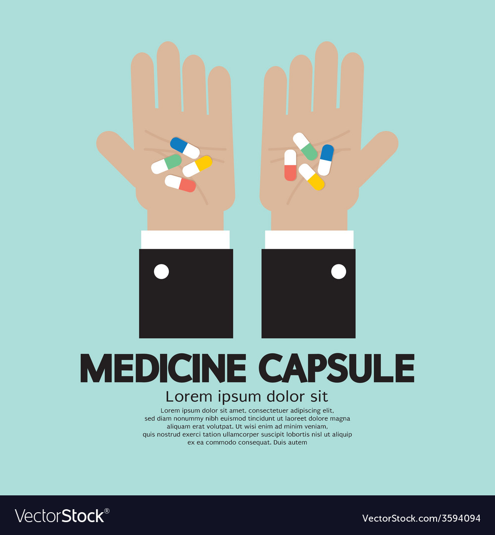 Medicine capsule in hand vector | Price: 1 Credit (USD $1)
