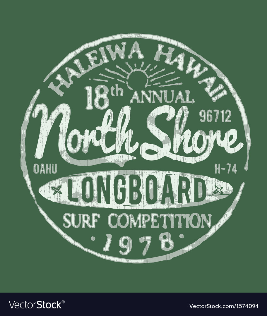 North shore surf themed vintage design vector | Price: 1 Credit (USD $1)