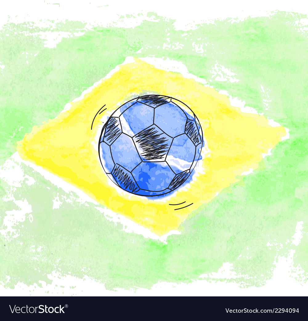 Soccer ball and watercolor flag of brazil vector | Price: 1 Credit (USD $1)