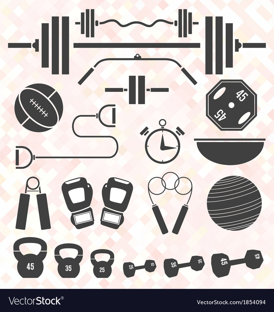 Weight lifting and workout icons and s vector | Price: 1 Credit (USD $1)