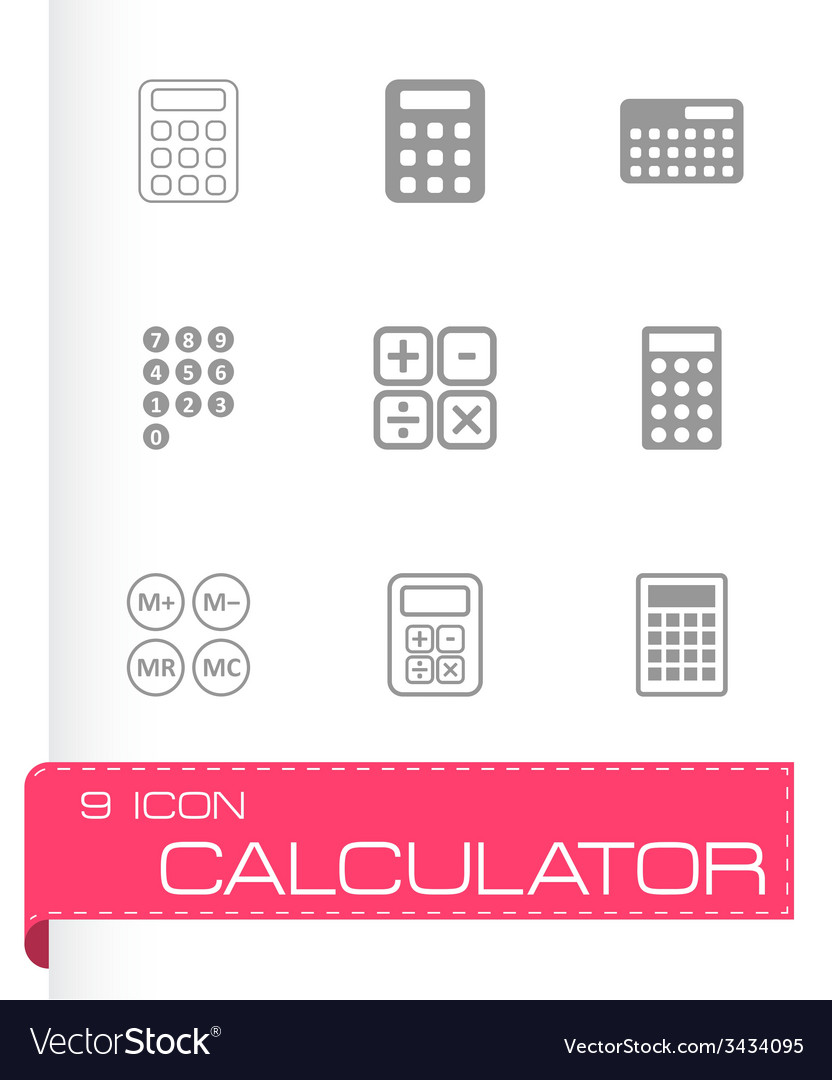 Black calculator icon set vector | Price: 1 Credit (USD $1)
