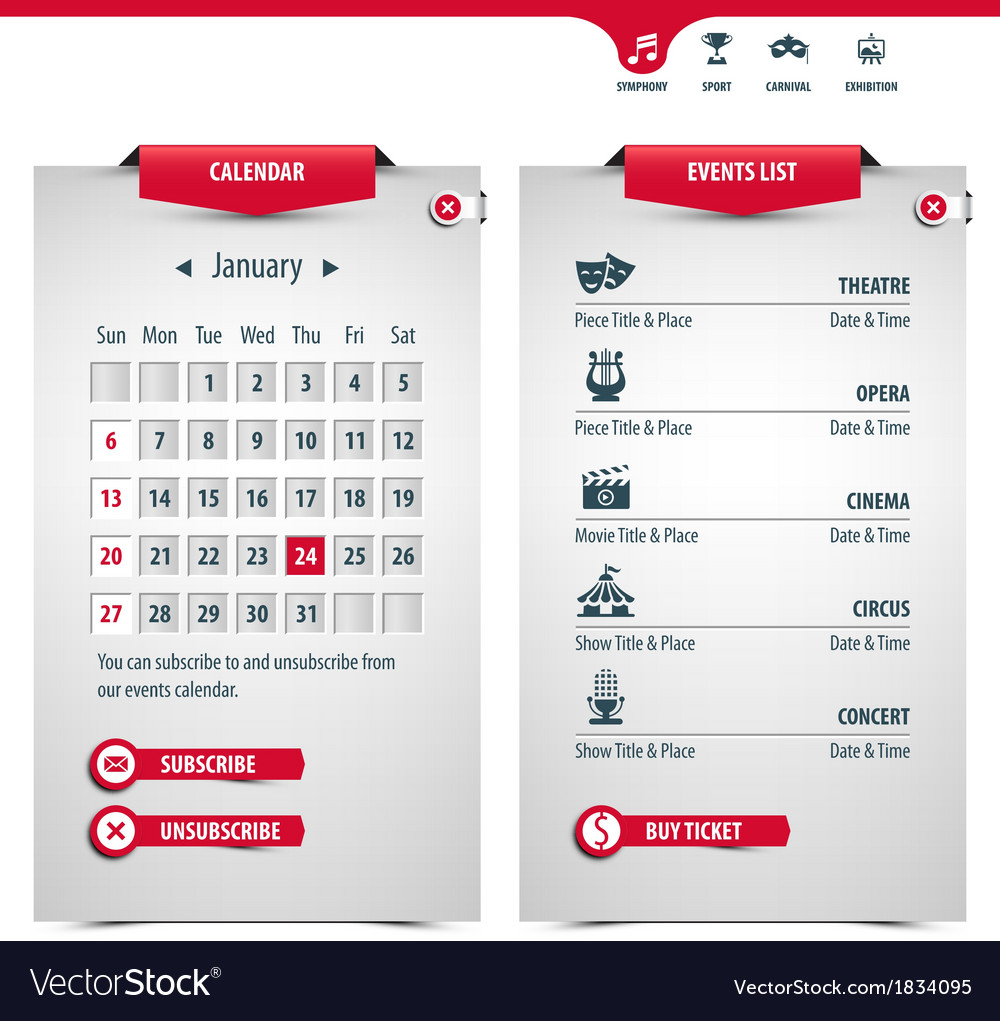Calendar and icons vector | Price: 1 Credit (USD $1)