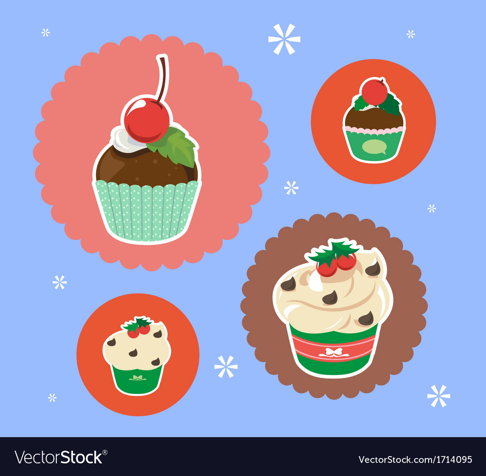 Christmas cup cake vector | Price: 1 Credit (USD $1)
