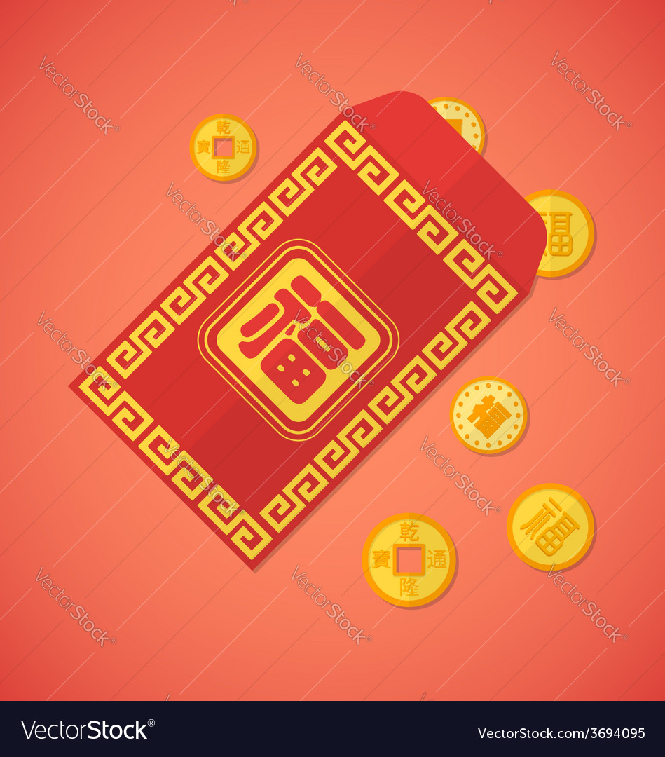 Flat style chinese new year red envelope with vector | Price: 1 Credit (USD $1)