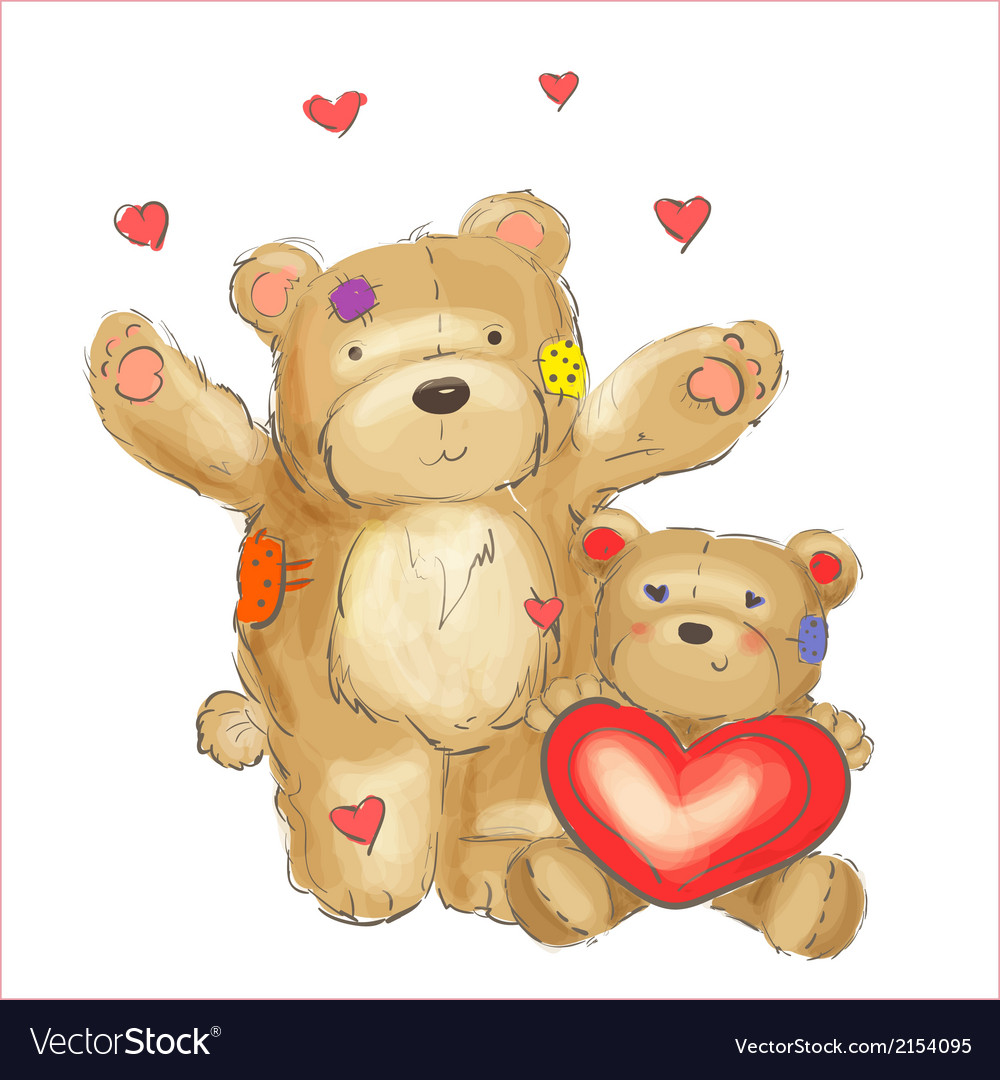 Lovely bears with hearts sketch vector | Price: 1 Credit (USD $1)
