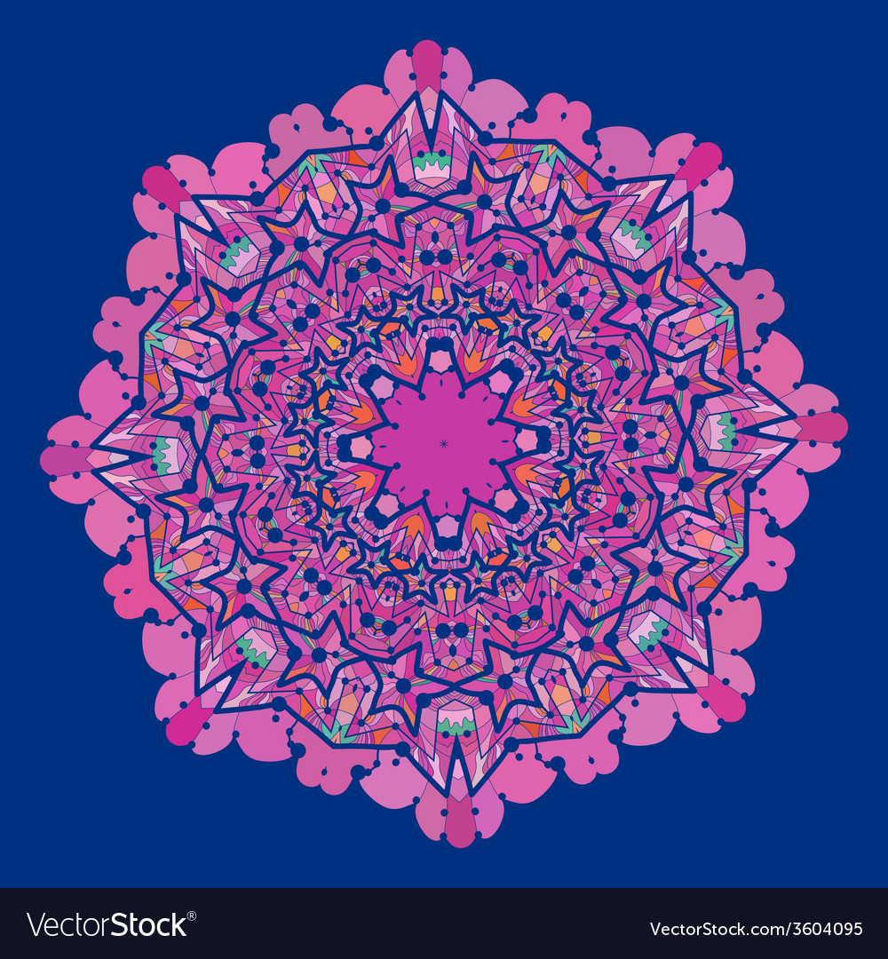 Ornamental colorful mandala of violet and pink vector   Price: 1 Credit (USD $1)