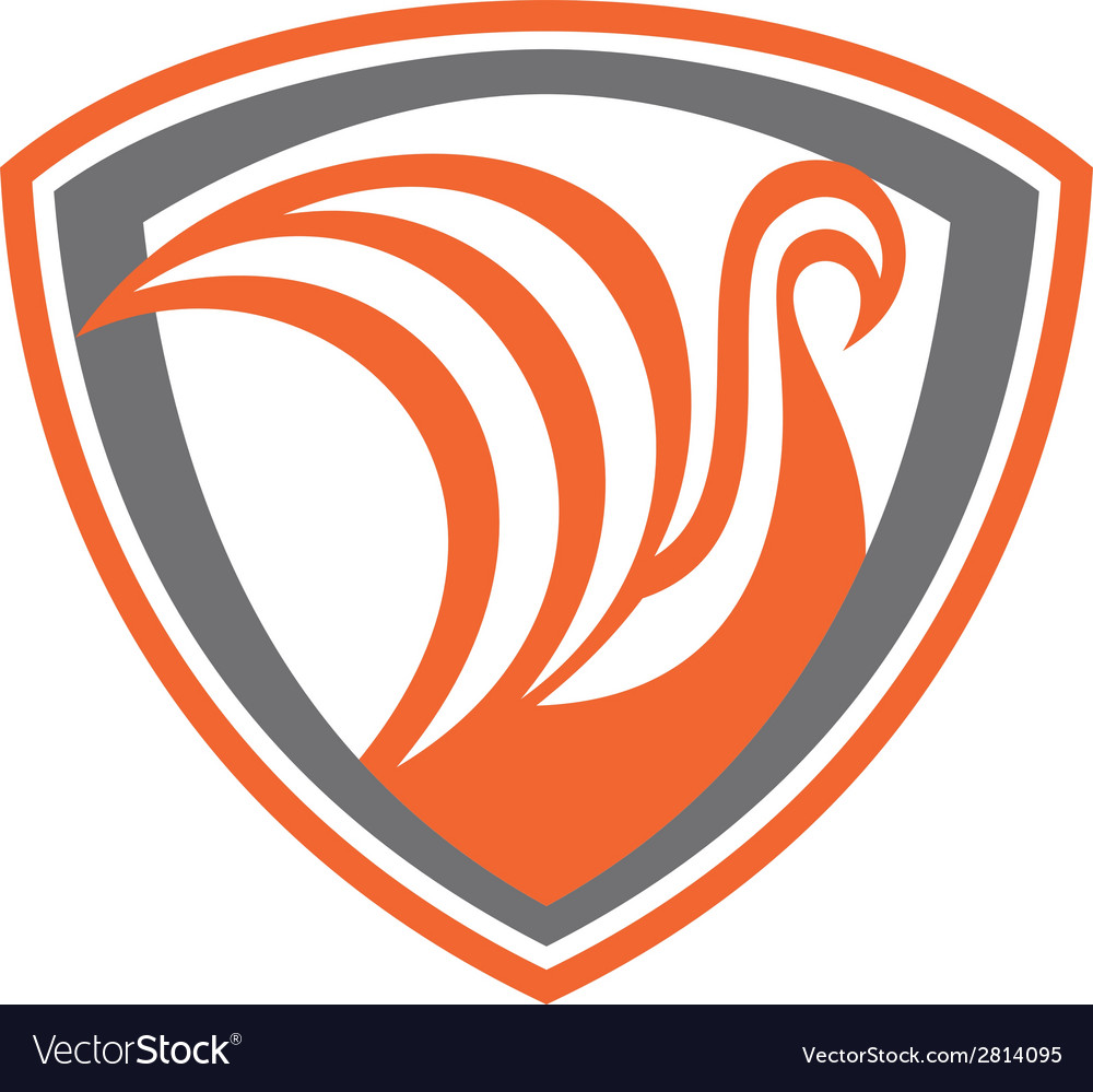 Swan viking ship shield retro vector | Price: 1 Credit (USD $1)