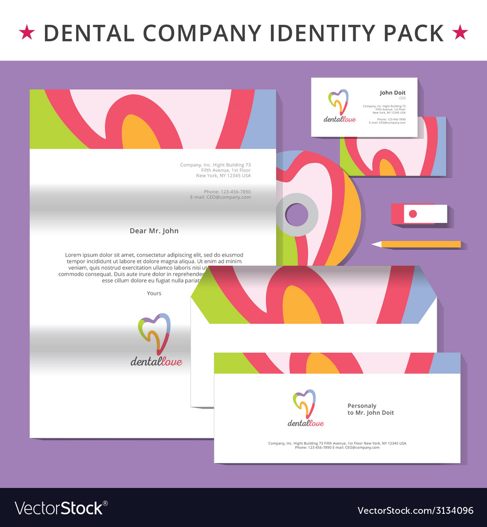 Abstract dentist tooth identity pack concept logo vector | Price: 1 Credit (USD $1)