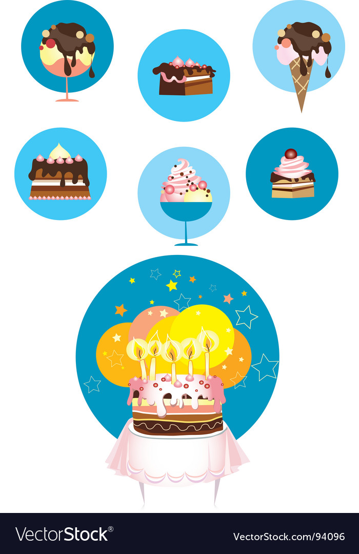 Birthday cake and desserts vector | Price: 1 Credit (USD $1)