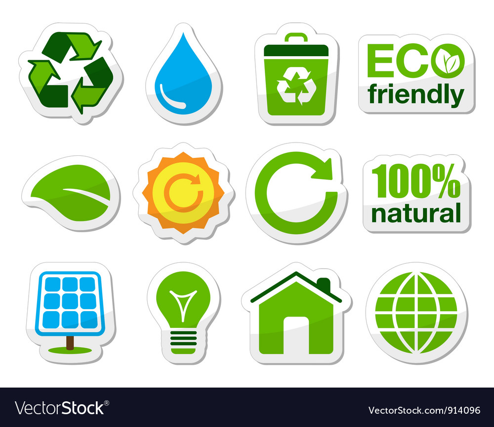 Green eco icons set vector   Price: 1 Credit (USD $1)