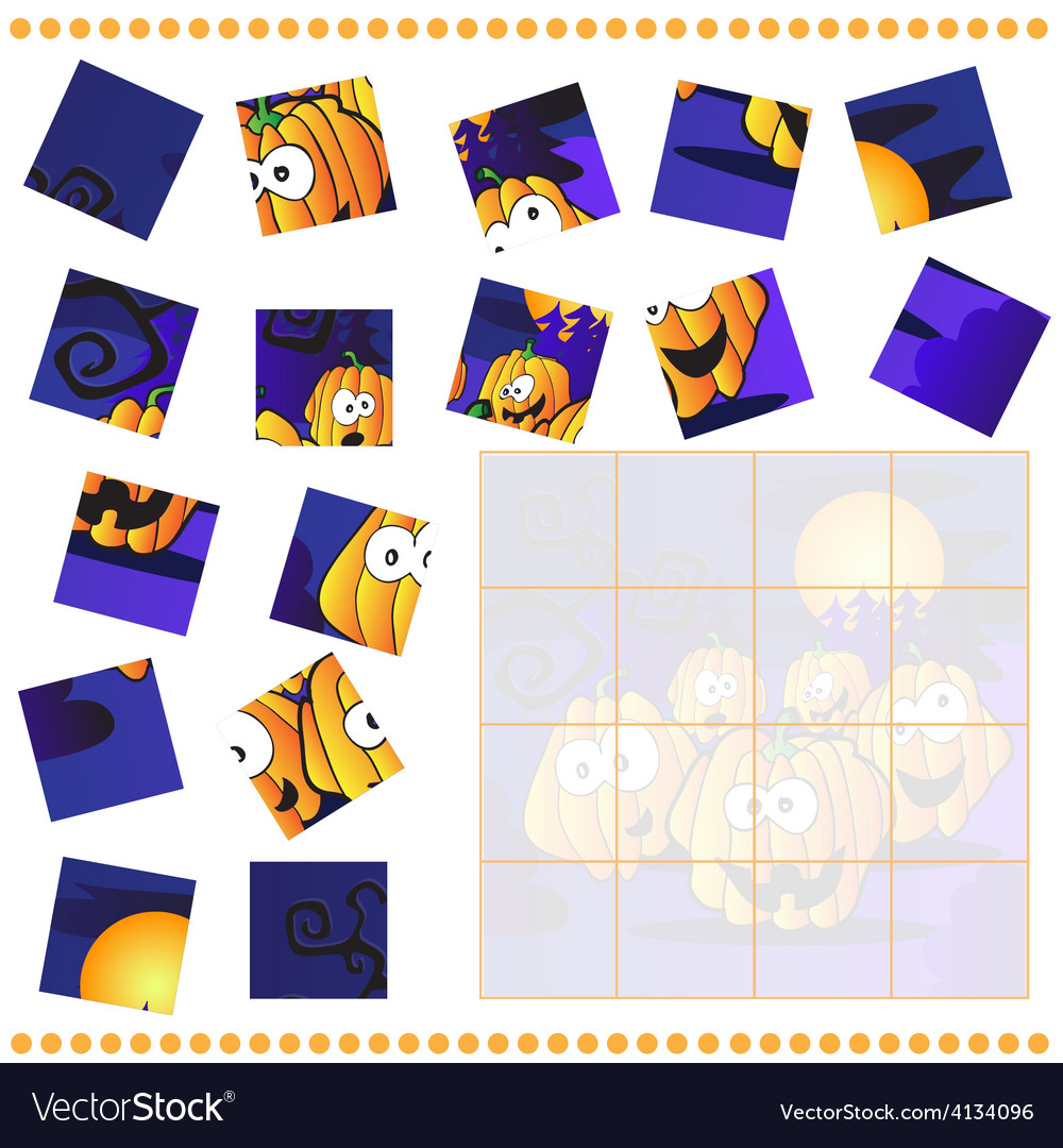 Jigsaw puzzle game for children vector | Price: 1 Credit (USD $1)