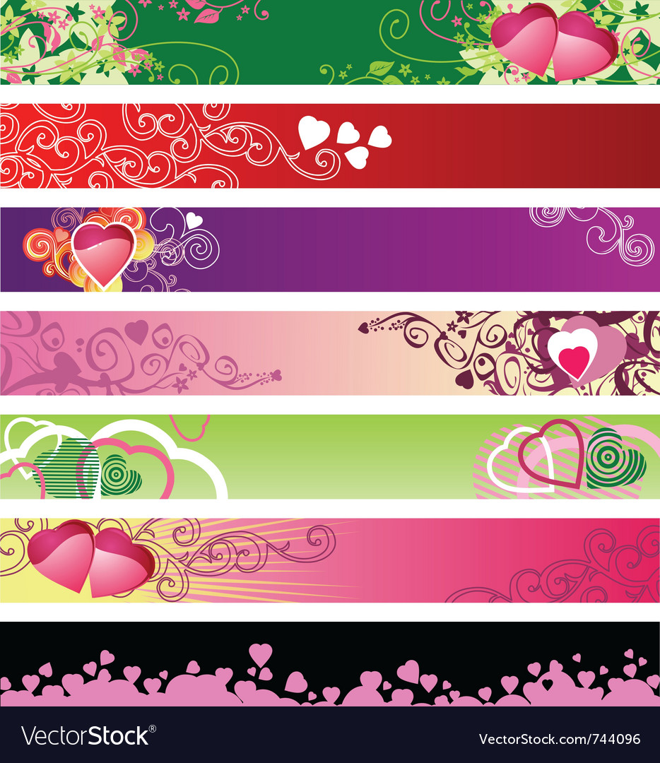 Love hearts website banners vector | Price: 1 Credit (USD $1)