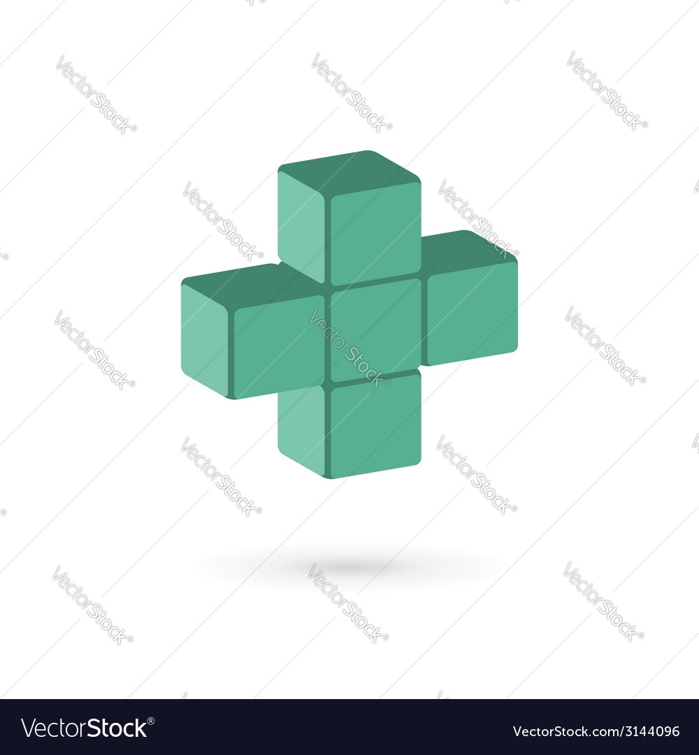 Medical cube logo icon design template with cross vector | Price: 1 Credit (USD $1)