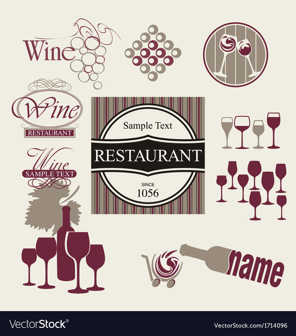 Set of wine and drink design elements vector | Price: 1 Credit (USD $1)