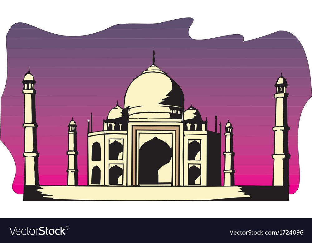 Taj-mahal temple silhouette vector | Price: 1 Credit (USD $1)