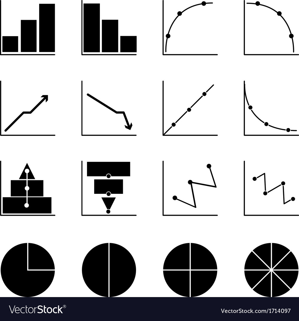 Applied graph icons on white background vector | Price: 1 Credit (USD $1)