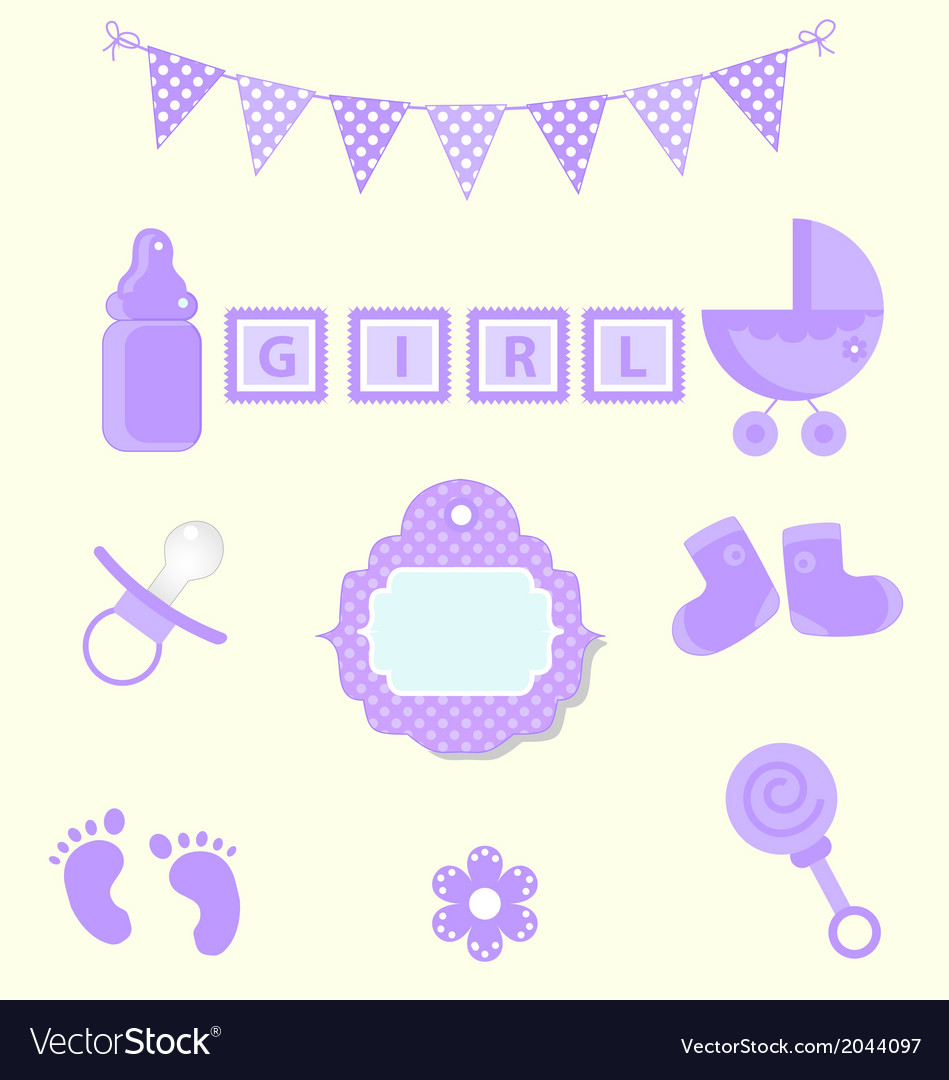 Baby girl set of design element for scrapbook and vector | Price: 1 Credit (USD $1)
