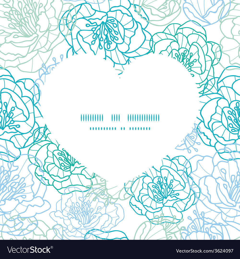 Blue line art flowers heart silhouette pattern vector | Price: 1 Credit (USD $1)