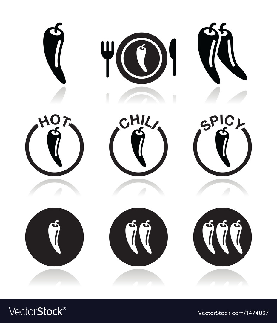 Chili peppers hot and spicy food icons set vector | Price: 1 Credit (USD $1)