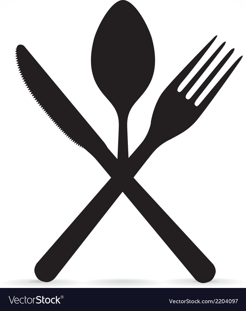 Crossed fork knife and spoon vector | Price: 1 Credit (USD $1)