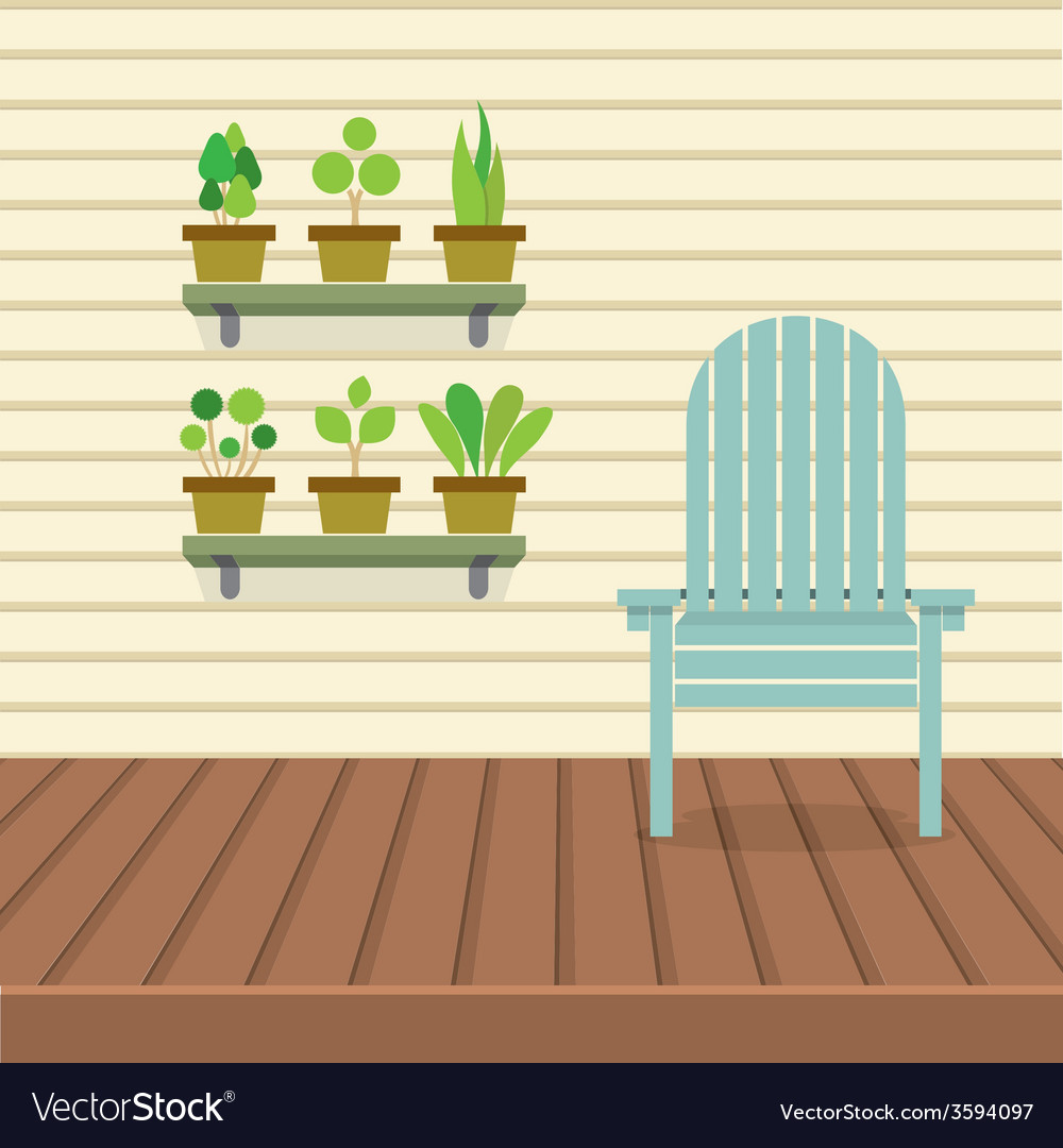 Empty chair on wood wall and ground with pot vector | Price: 1 Credit (USD $1)