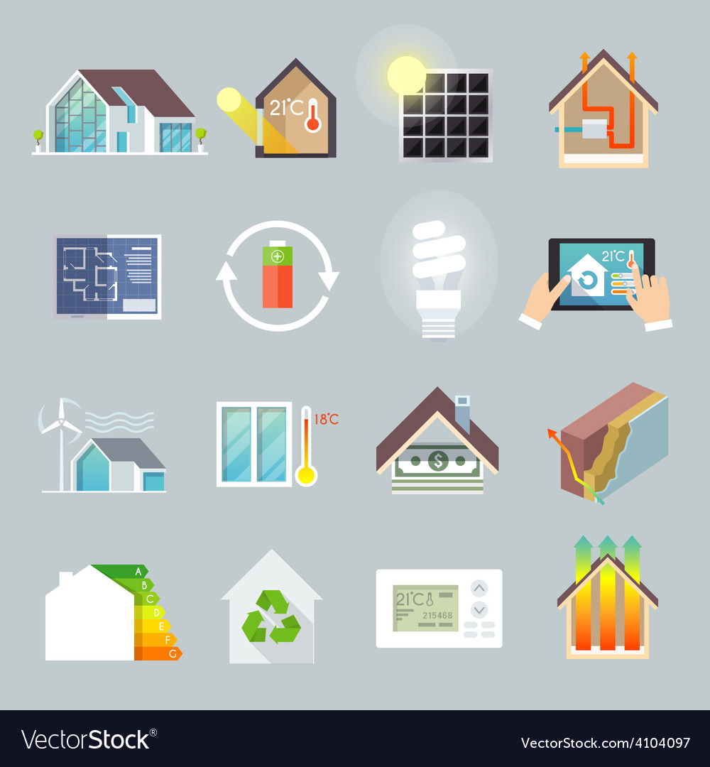 Energy saving house vector | Price: 1 Credit (USD $1)