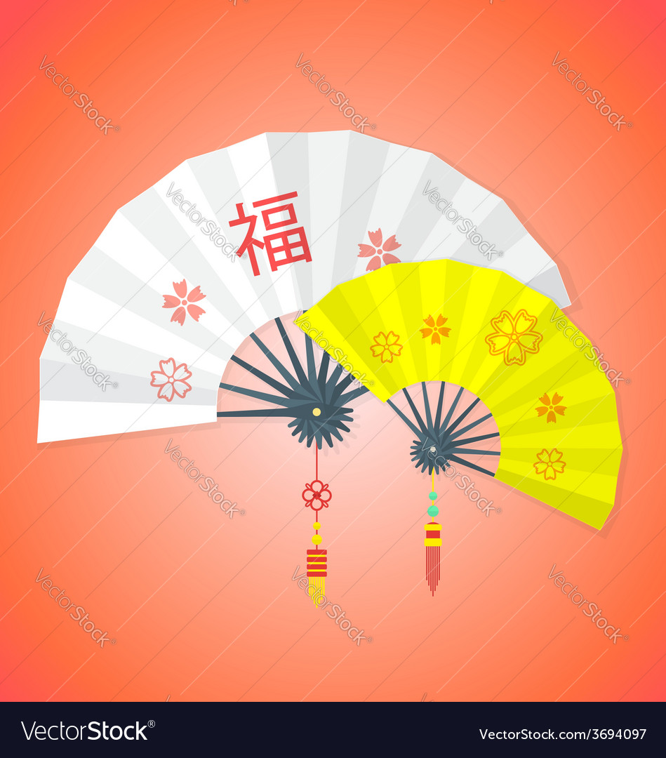 Flat style chinese new year fans vector | Price: 1 Credit (USD $1)