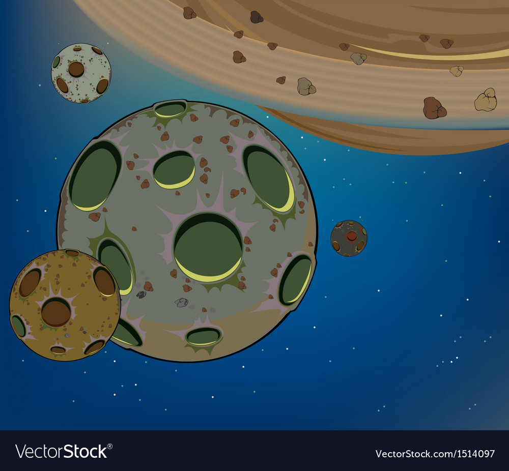 Planets in the universe cartoon vector | Price: 1 Credit (USD $1)