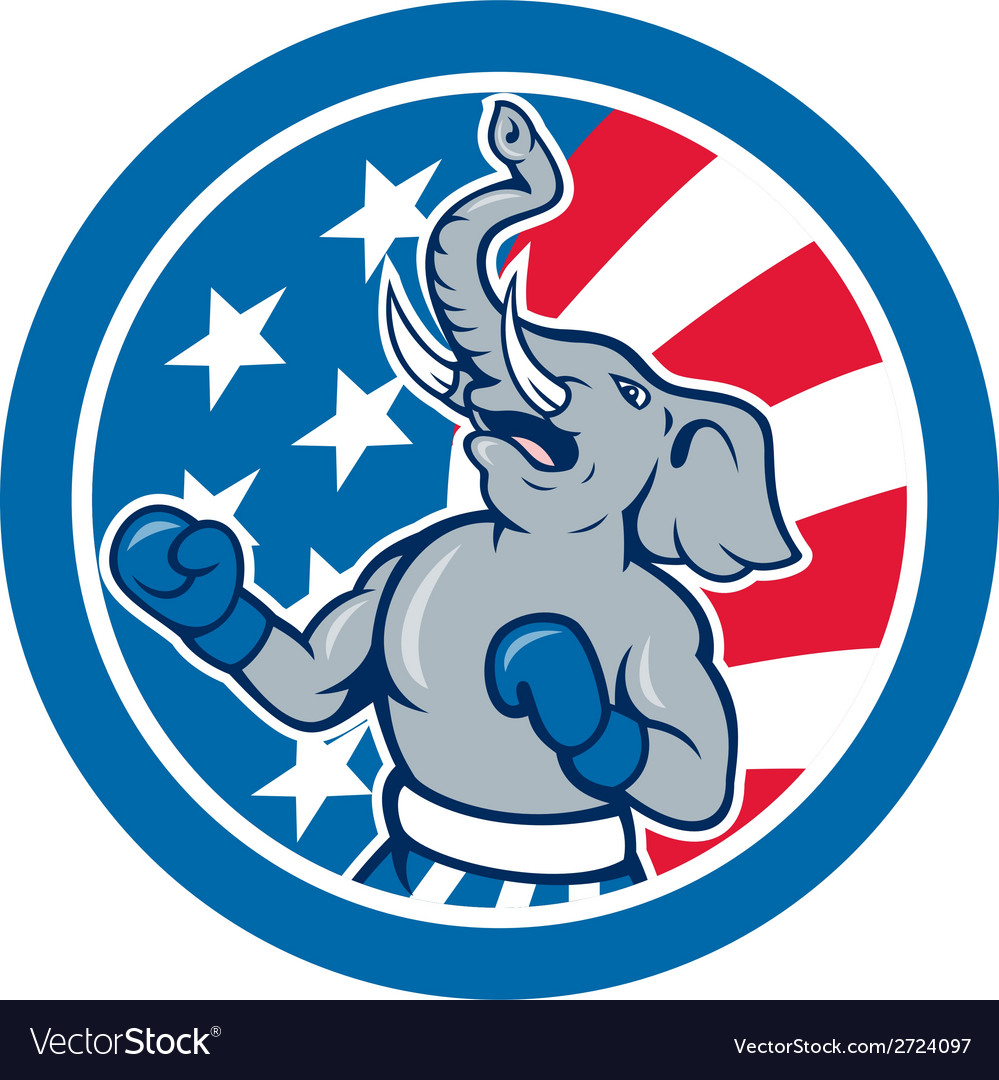Republican elephant boxer mascot circle cartoon vector | Price: 1 Credit (USD $1)