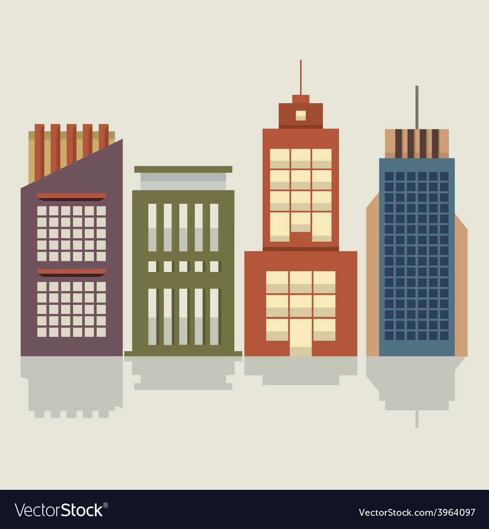 Set of city buildings vector | Price: 1 Credit (USD $1)