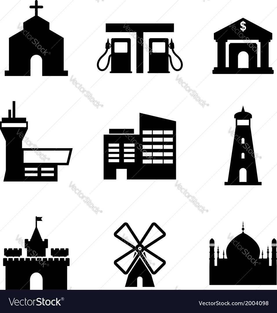 Architecture and buildings icons vector | Price: 1 Credit (USD $1)
