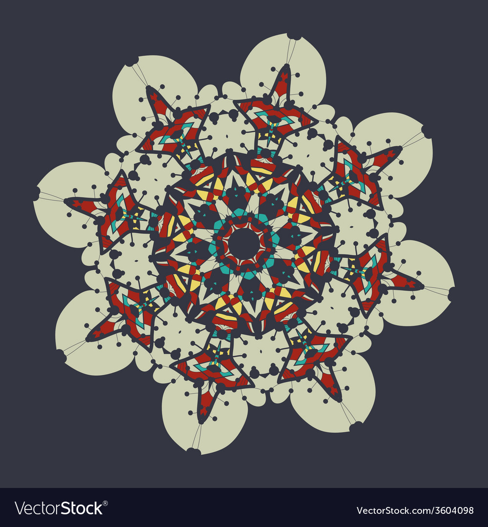Colorful mandala over gray background vintage vector | Price: 1 Credit (USD $1)