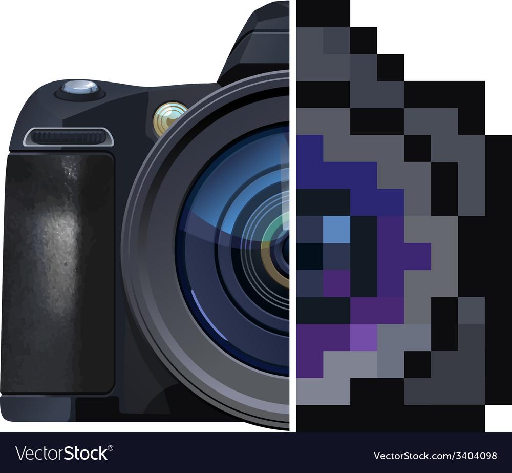 Digital single-lens reflex camera vector | Price: 1 Credit (USD $1)