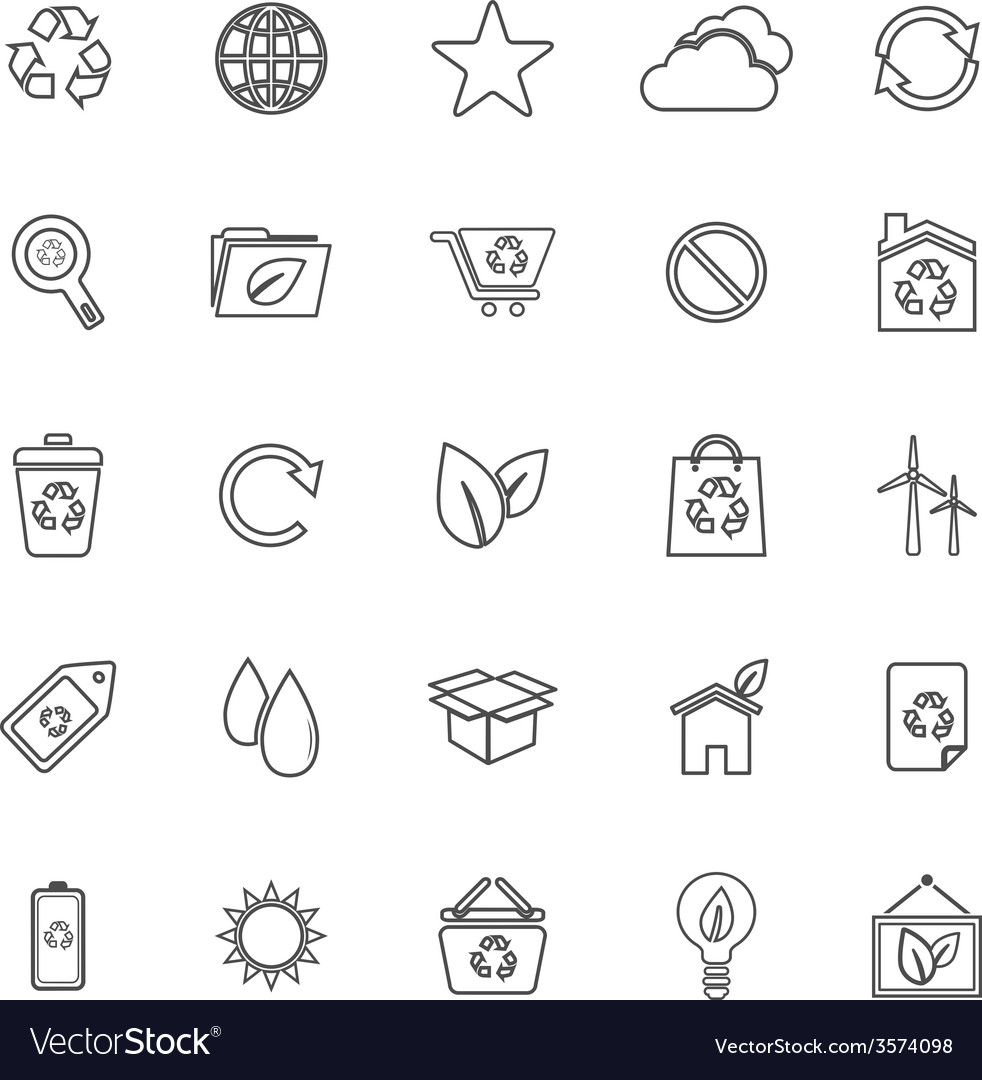 Ecology line icons on white background vector | Price: 1 Credit (USD $1)