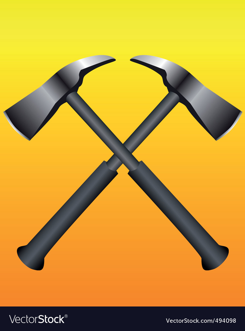 Fire axes formed a cross vector | Price: 1 Credit (USD $1)