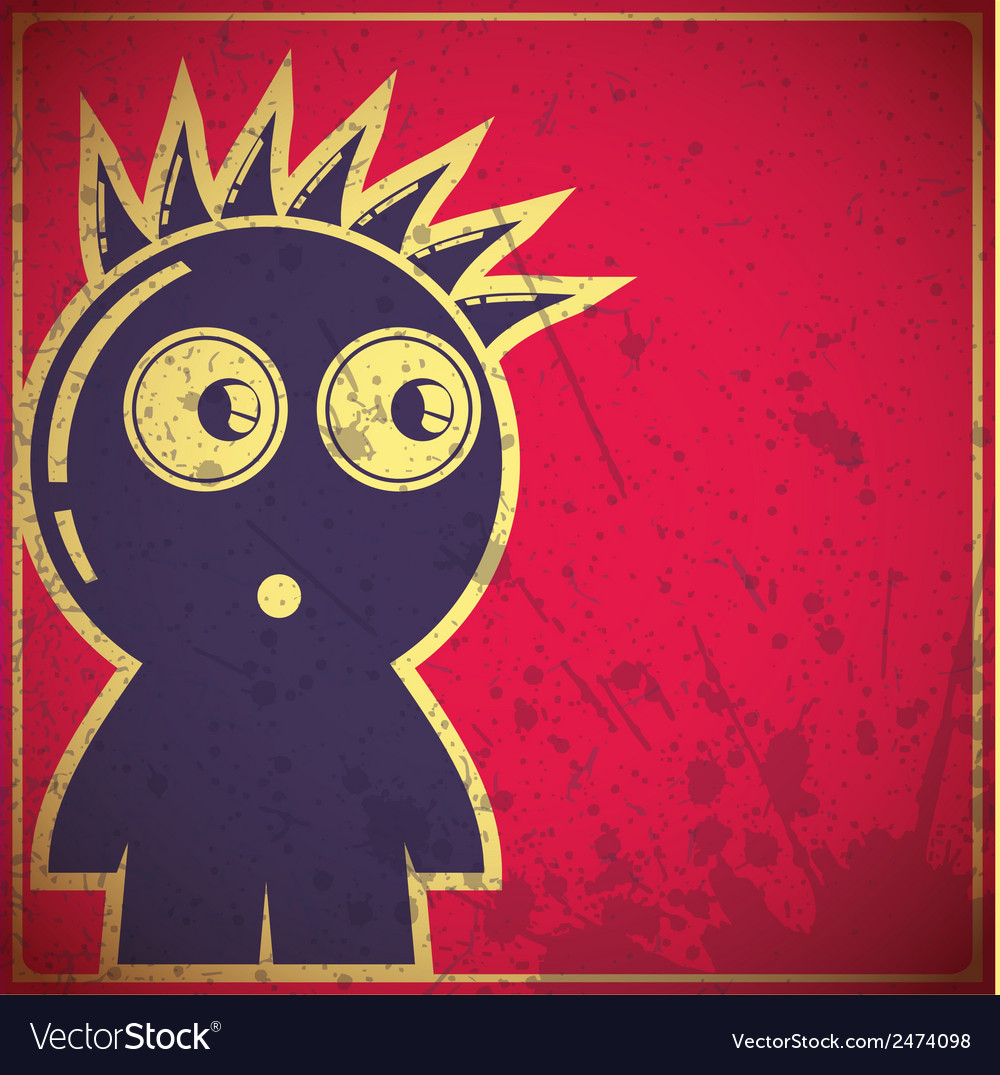Funny character on grunge background vector | Price: 1 Credit (USD $1)