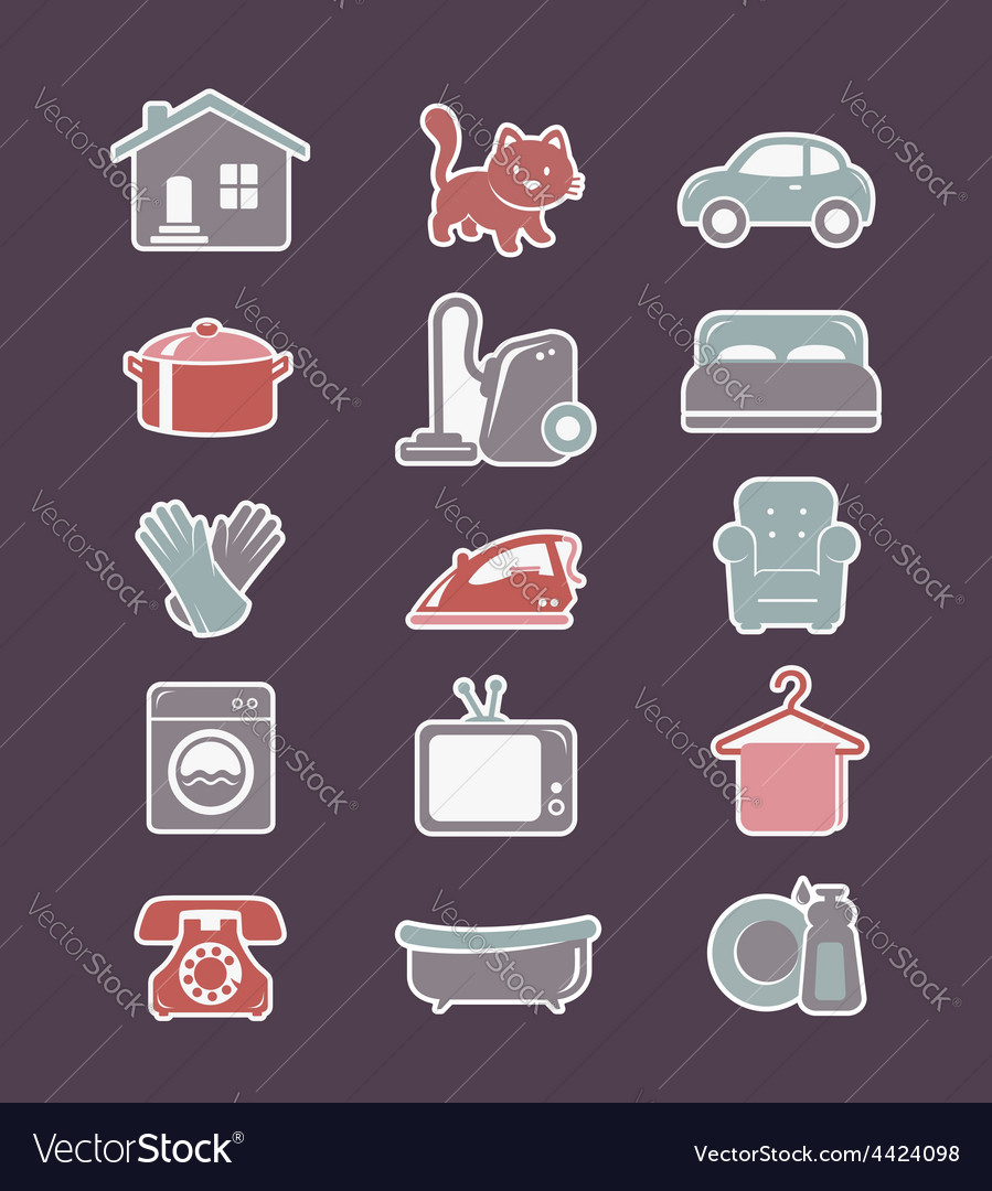 House cleaning and household appliances flat icons vector | Price: 1 Credit (USD $1)
