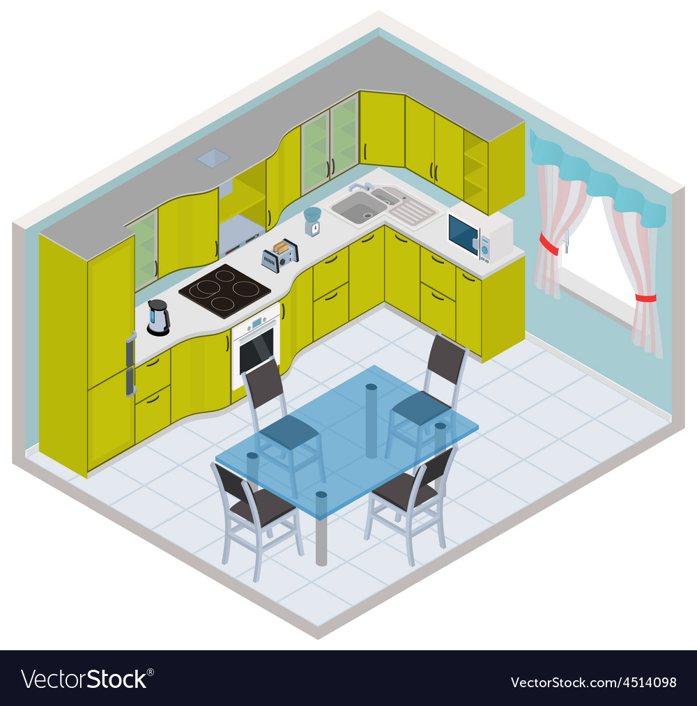 Isometric kitchen interior vector | Price: 1 Credit (USD $1)