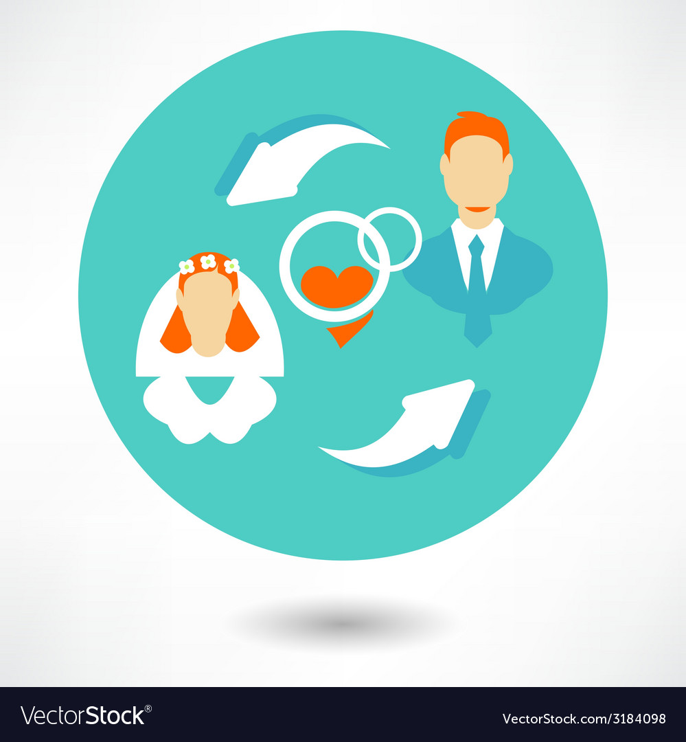 Married couple icons - groom and bride vector | Price: 1 Credit (USD $1)