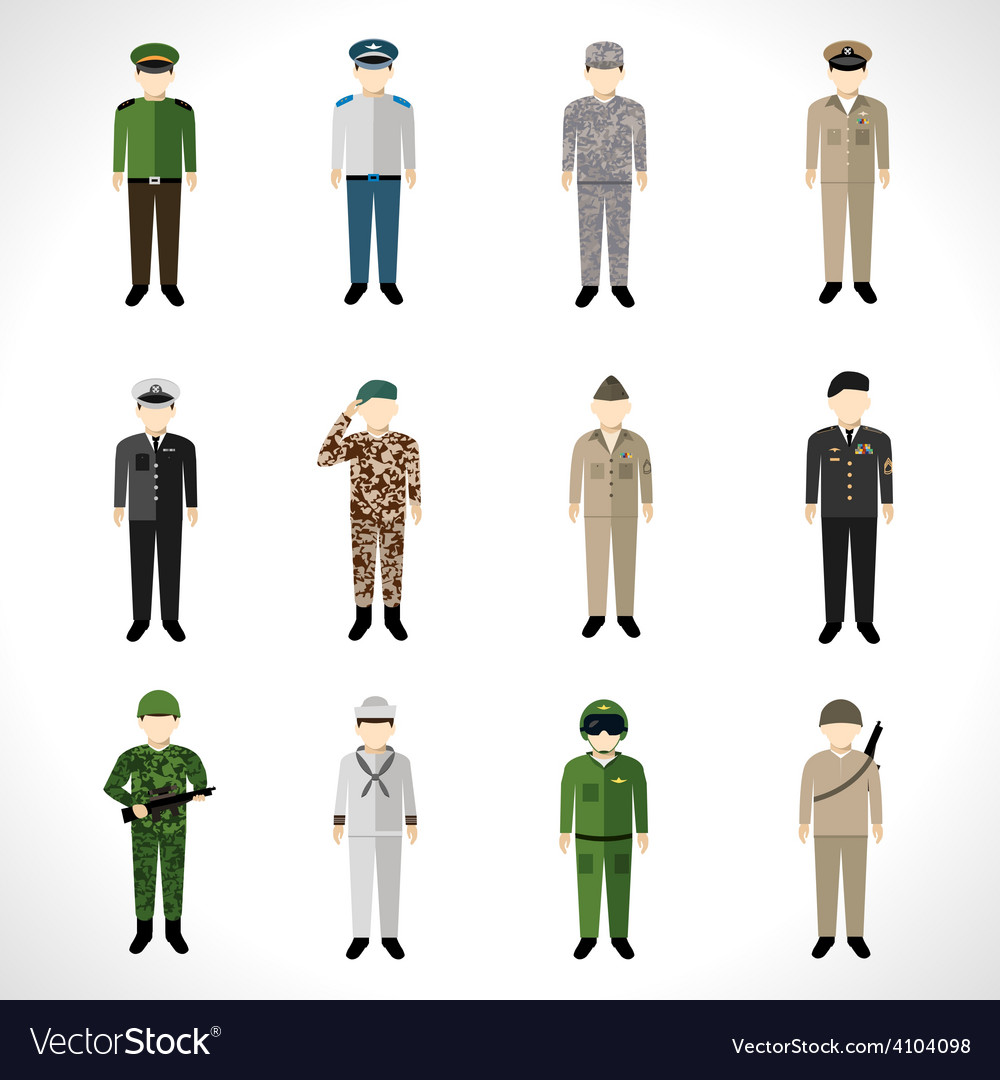 Military avatars set vector | Price: 1 Credit (USD $1)